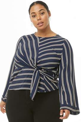 Forever 21 Plus Size Striped Tie-Front Top