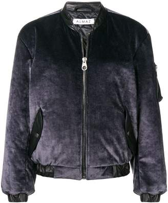 Almaz zipped velvet bomber jacket
