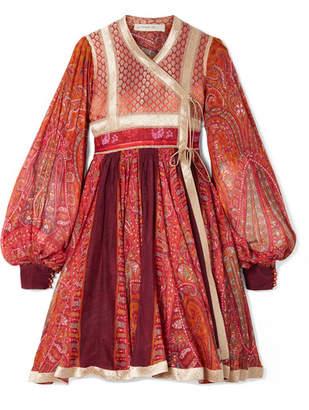 Etro Paneled Cotton And Silk-blend Jacquard And Printed Chiffon Wrap Dress