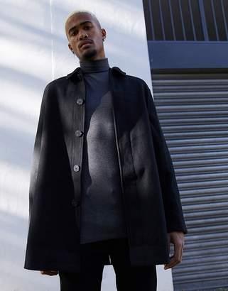 Design DESIGN wool mix trench coat in black
