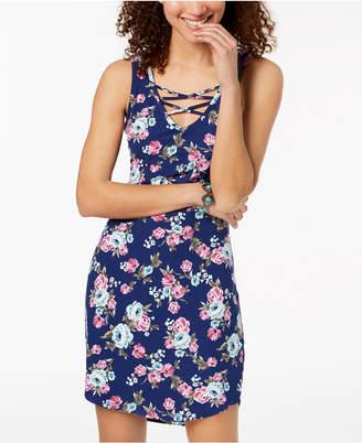 Ultra Flirt Juniors' Floral-Print Lace-Up Bodycon Dress