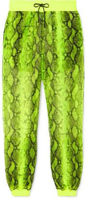 Off-White Off White Snake-print Chiffon Track Pants