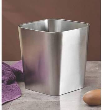 InterDesign Gia Wastebasket Trash Can, Brushed Stainless Steel