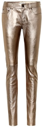 Saint Laurent Low-rise leather skinny jeans