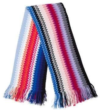 Missoni Wool-Blend Chevron Shawl blue Wool-Blend Chevron Shawl