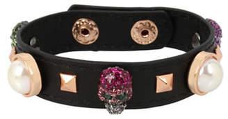 Betsey Johnson Duchess of Betseyville Skull Leather Bracelet