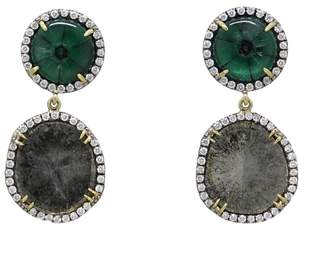 Pamela Huizenga 18K Yellow Gold Trapiche Emerald and Diamond Slice Earrings
