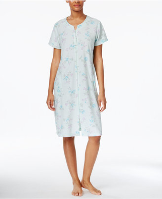 Miss Elaine Zip-Front Printed Stretch Terry Short Robe $60 thestylecure.com