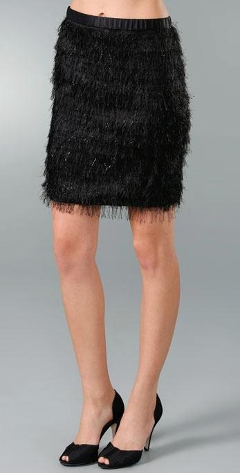 ADAM Feather Fringe Pencil Skirt