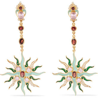 Papi Percossi Gold-plated Multi-stone Earrings - Green