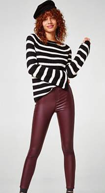 Esprit EDC - Skinny medium rise coated ankle-length treggings