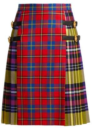 Versace Pleated Checked Tartan Skirt - Womens - Red Multi