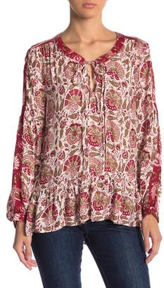 Lucky Brand Ruffle Trim Patterned Peasant Blouse