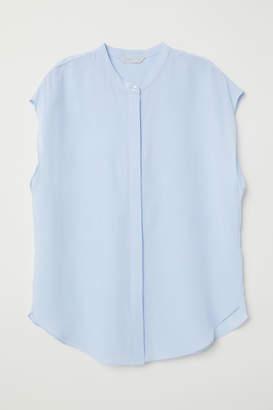 H&M Short-sleeved Silk Blouse - Blue