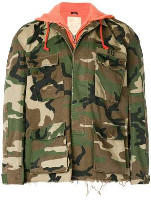 R 13 contrast hooded camouflage jacket