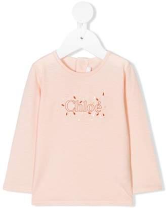 Chloé Kids embroidered logo tee