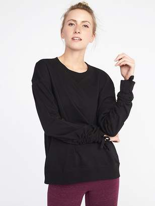 Old Navy French-Terry Cinched-Sleeve Sweatshirt for Women