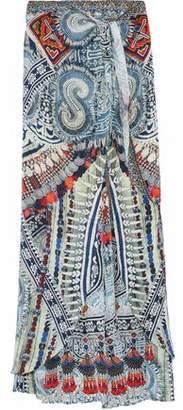 Camilla Teacher's Pet Embellished Printed Silk Wide-Leg Pants