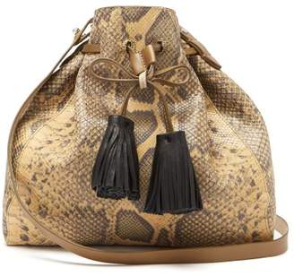 Isabel Marant Beeka Snake Effect Leather Bucket Bag - Womens - Beige Multi