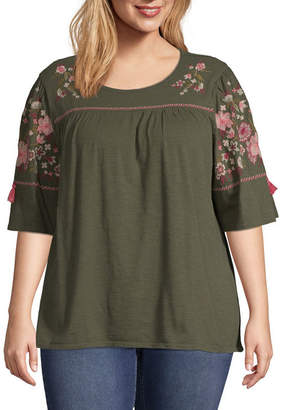 ST. JOHN'S BAY Embroidered Elbow Sleeve Top - Plus