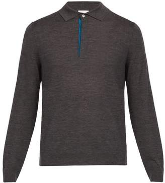 Paul Smith Long Sleeved Fine Knit Wool Polo Shirt - Mens - Dark Grey