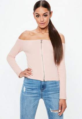 Missguided Nude Bardot Zip Through Ribbed Crop Top