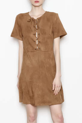 Paper Crane Lace-Up Suede Dress