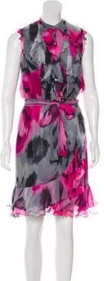 Trina Turk Silk Sleeveless Ruffled Dress