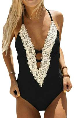8799534329671 Hmarkt Women Monokini Swimsuit Plunge One Piece Lace Trim Bikini Beachwear S