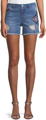 Nanette Lepore Nanette Ikat-Embroidered Denim Cutoff Shorts