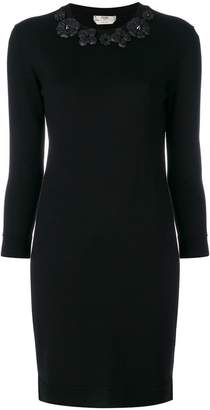 Fendi fitted dress with floral appliqués