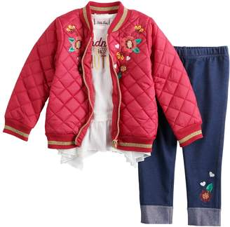 Little Lass Toddler Girl Quilted Bomber Jacket, Ruffled Top & Embroidered Jeggings Set