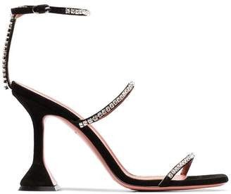 Amina Muaddi Gilda 95 logo embossed and crystal detail sandals