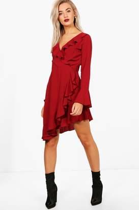boohoo Charlotte Ruffle Detail Woven Tea Dress