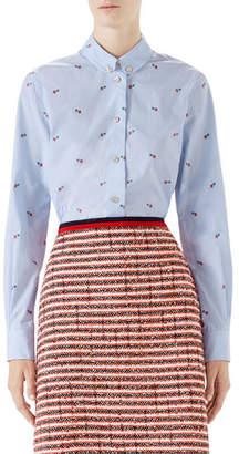 Gucci Pierced-Heart Fil Coupé Cotton Shirt