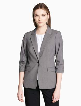 Calvin Klein birdseye single button 3/4 ruched sleeve jacket