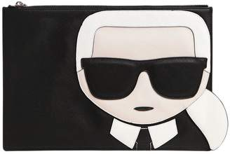 Karl Lagerfeld K/Ikonik Faux Leather Pouch