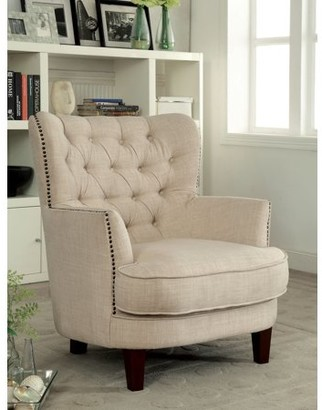 Furniture of America Jarod Contemporary Fabric Accent Chair, Ivory