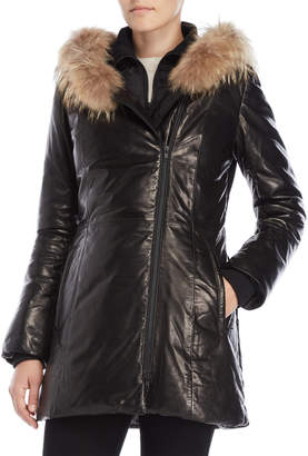 Soia & Kyo Real Fur Trim Hooded Leather Down Coat