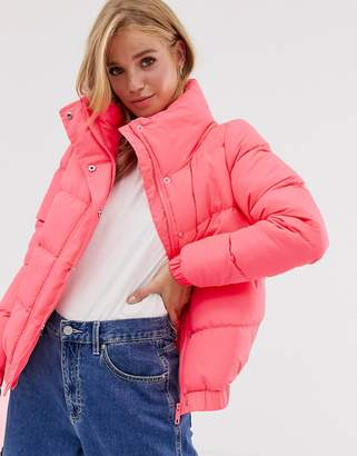 Brave Soul slay cropped padded coat in neon
