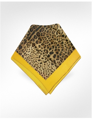 Dolce & Gabbana Signature Frame Leopard Printed Silk Square Scarf