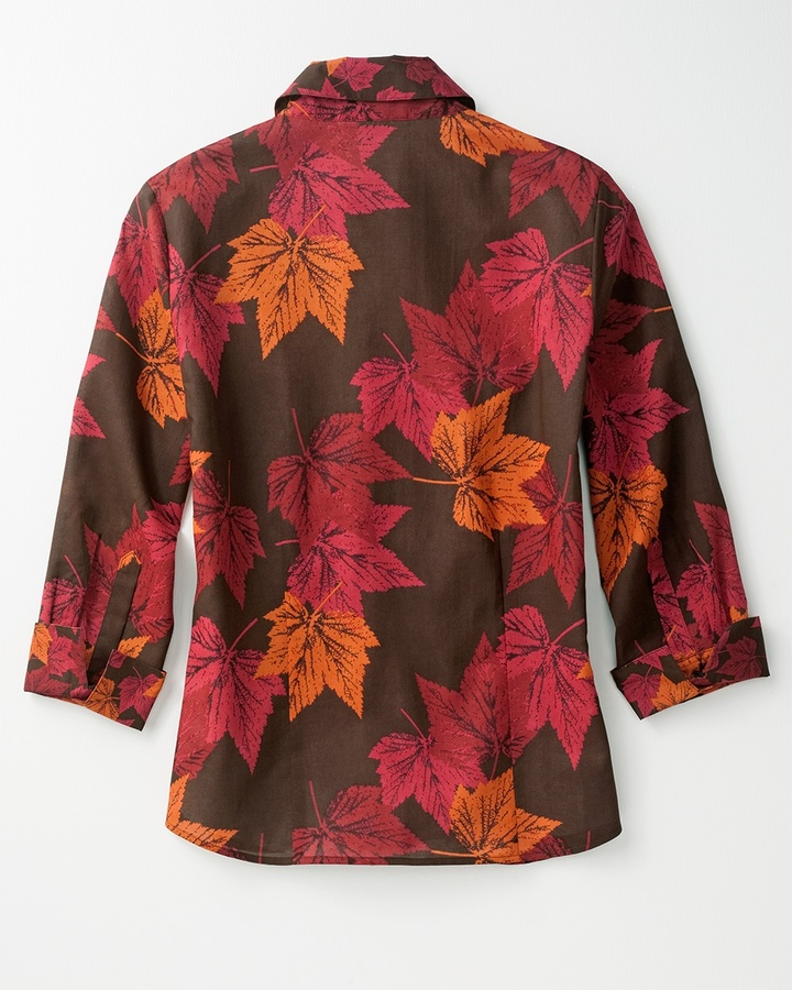 Coldwater Creek Leaf print no-iron shirt