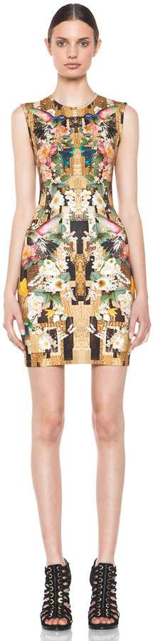 Alexander McQueen Dragonfly Mini Dress in Gold