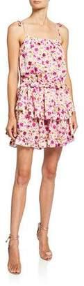MISA Los Angeles Eliana Tiered Floral-Print Short Dress
