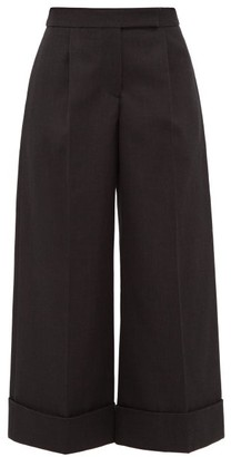 Simone Rocha Turn Up Cuff Gabardine Wide Leg Trousers - Womens - Black