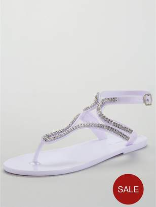 b76f3c9d0d82f Very Sparkle Embellished Toe Post Jelly Sandal - White