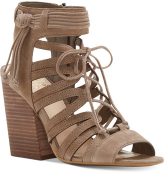Vince Camuto Ranata Lace-Up Block-Heel Sandals $129 thestylecure.com