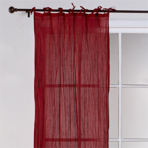 Crinkle Voile Curtain Panel, Chili Pepper