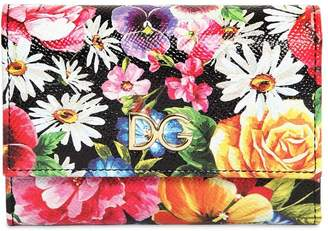 Dolce & Gabbana Compact Flower Print Leather Wallet