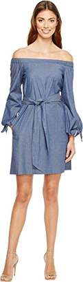 Donna Morgan Women's Off Shoulder Chambray Dress with Tie Sleeve